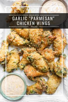 """Garlic Parmesan Chicken Wings (Paleo, Keto, - a dash of dolly - - These Garlic """"Parmesan"""" Chicken Wings are paleo, keto, and friendly. These are easy to make and packed with so much flavor with a few ingreidents. Parmesan Wings Recipe, Recipes With Parmesan Cheese, Baked Garlic Parmesan Chicken, Garlic Dip, Garlic Knots, Garlic Aioli, Parmesan Sauce, Garlic Pasta, Garlic Shrimp"""