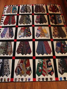 These neck tie quilts were made for a retired educator. He wanted to keep these memories and have them to pass on to his children. The quilt can be made with whatever color you choose. Please send me a conversation here on etsy to discuss your quilt. A large throw size quilt like this takes about 60 ties, a full size will take approximately 80 ties, a Queen size takes about 100-120. If you dont have this many ties I dont have to use as many ties in each square and spread them out more. I can…