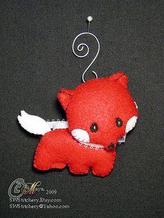 An adorable custom made Red Fox Ornament, apx Fox Ornaments, Christmas Ornaments, Christmas Ideas, Merry Christmas, Fantastic Fox, Purple Trees, Santa Claus Is Coming To Town, Cute Plush, Fox Design