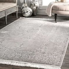 Shop for nuLoom Silver Viscose Vintage Faded Withered Medallion Tassel Rug (6' x 9'). Get free shipping at Overstock.com - Your Online Home Decor Outlet Store! Get 5% in rewards with Club O! - 24395837