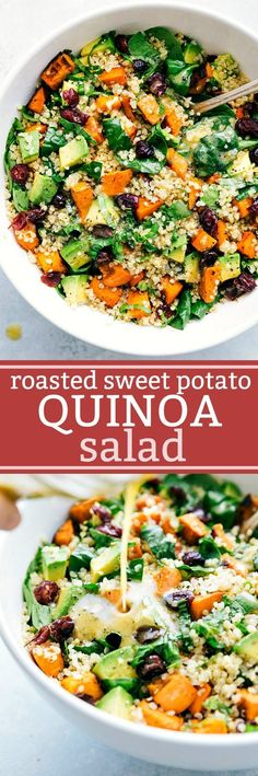 25 Healthy One Pot Vegetarian Meals Roasted sweet potato and quinoa salad! Fresh and healthy roasted sweet potato and quinoa salad made with spinach and avocados. A healthy and delicious lemon vinaigrette dressing coats this salad. Healthy Salad Recipes, Whole Food Recipes, Vegetarian Recipes, Cooking Recipes, Vegan Meals, Dinner Recipes, Quinoa Meals, Vegan Quinoa Recipes, Dinner Ideas