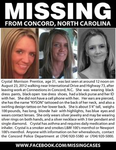 Local Mom MISSING..PLEASE REPIN and share with facebook friends and family and any sites or groups you have...Her son needs her home..God Bless