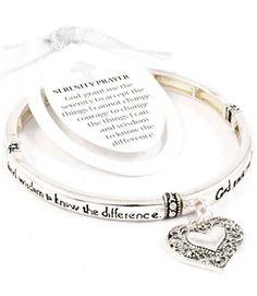 Silvertone Serenity Prayer Heart Charm Stretch Bracelet