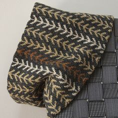 """A dynamic motif which is quickly memorized gives a graphic look to this simple cowl. A touch of whimsy comes from the introduction of just a few rows of a second motif — the dots, or '""""punctuation"""". The possibilities for colour variations are limitless: neutrals or brights, just two colours or as many as you can fit in."""
