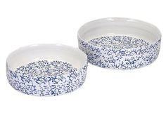 "Favorite ""new traditional"" home accents - Meadow Blue and White Terracotta Decorative Trays"