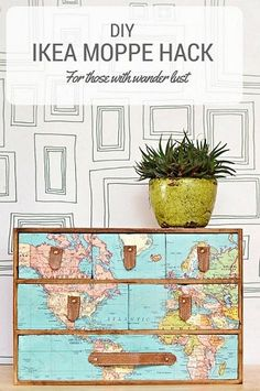 A fantastic IKEA Moppe hack with a vintage world map and leather draw pulls. Full step by step DIY. Great gift for those with wanderlust. - Diy for Houses Hacks Ikea, Hacks Diy, Map Crafts, Diy And Crafts, Crafts With Maps, Furniture Makeover, Diy Furniture, Luxury Furniture, Furniture Online