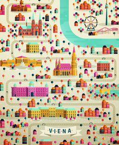 Illustrated map of Viena on Behance Illustration Design Graphique, Travel Illustration, Art Graphique, Landscape Illustration, Pattern Illustration, Architecture Illustrations, Graphic Design Agency, Palette Design, Map Design