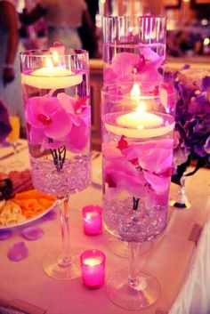 Pretty pink centerpiece--maybe excluding the candles!!