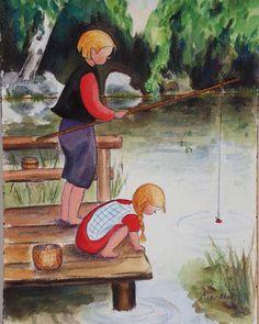 Boy ang Girl Fishing - watercolors