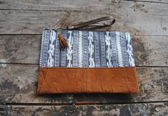 Upcycled Brown Leather Navy Aztec Clutch // by aperfectmessvintage