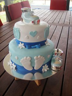Blue baby shower cake idea - boy