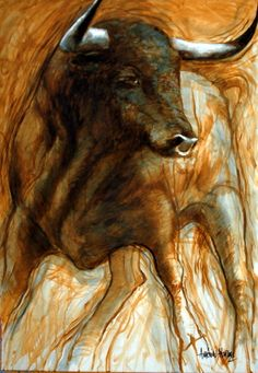 cuadros modernos toro en siena Colorful Animals, Large Animals, Watercolor Animals, Watercolor Art, Bull Painting, Mexican Paintings, Bull Tattoos, Cow Pictures, Graphic Novel Art