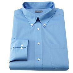 Men's Croft & Barrow® Slim-Fit Solid Broadcloth Button-Down Collar Dress Shirt, Size: 17.5-32/33, Blue