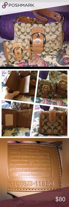 """Bag and wallet NO TRADES. Thank you Slightly used Coach Soho Purse. Style #A0873-11860 Tan Canvas and Leather. 7"""" H x 9.25""""W x 3""""D Leather strap with an 8.5"""" Drop Includes wallet. Really a cute set.  I need to move it along. Enjoy!! 💕💞💖. Thank you for taking time to browse my closet!  Teresa 🎀. Coach Bags Hobos"""