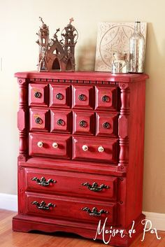 beautiful red dresser updated in milk paint - tutorial at maisondepax.com