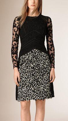 Off white/black Fil Coupé and Italian Lace Shift Dress - Image 1