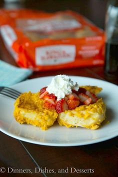 Crunchy Hawaiian French Toast | Dinners, Dishes, and Desserts   Ingredients •4 KING'S HAWAIIAN ® Dinner Rolls •2 eggs •⅓ cup milk •2 tsp cinnamon •¼ tsp salt •2 tsp sugar •1 cup roughly crushed cereal •Butter or Nonstick spray  Toppings: •fresh fruit •whipped cream •maple syrup  Read more at http://dinnersdishesanddesserts.com/crunchy-hawaiian-french-toast/#8RvIw6B7HYEY4XGr.99