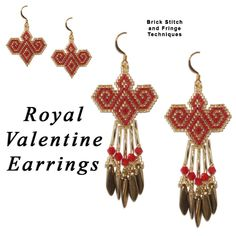 Royal Valentine Earrings Beading Pattern by Rita Sova at Sova-Enterprises.com