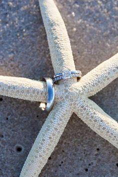 Coastal Beach Weddings - rings shot. Fun props for beach wedding photos. More