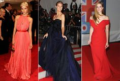 sabel Lucas, com vestido Louis Vuitton, no Baile do MET de 2011; Heidi Klum, de, J. Mendel, no Gala de 2009; e Lana Del Rey, de Vivienne Westwood, no Brit Awards