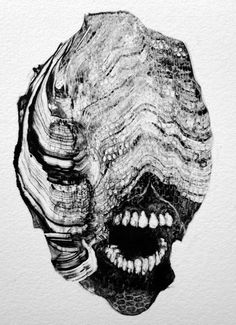 We've written about artist Grady Gordon's ghoulish Monotype prints before, and they continue to be gorgeous and gruesome. The intricate abstractions resolve into frightening black and white faces looming out of a nightmare. In some of his latest works, eyeless monsters open their m