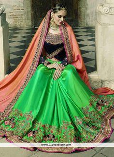 Voluptuous Green And Peach Patch Border Work Crepe Silk Half N Half Designer Saree