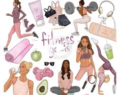 Fitness Clipart, Workout Clip Art, Yoga Clip Art, Fashion Illustration, Gym Equipment, gym #doodleart #animeart #yoga #yogachallenge