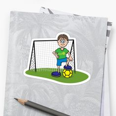 Buy 'Soccer Player' by John Morris as a Sticker. Cartoon illustration of a boy standing in front of a soccer goal. Cartoon Cupcakes, Soccer Players, Sticker Design, Stickers, Illustration, Prints, Fictional Characters, Football Players, Illustrations