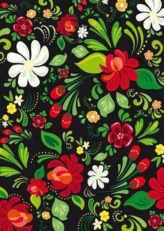 Russian Folk Art Painting Beautiful Ideas For 2019 Red Wallpaper, Flower Wallpaper, Pattern Wallpaper, Wallpaper Backgrounds, Wallpapers, Art Floral, Floral Prints, Art Prints, Folk Art Flowers