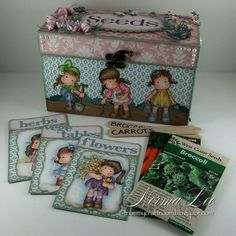 Seed Box, with a gardening scene and index cards featuring Magnolia Stamps…