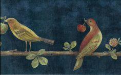 Country-Folkart-Birds-w-Berries-on-Branch-in-Navy-Blue-WALLPAPER-BORDER