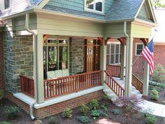 crastman style porches | Front porch, porch railing, craftsman style porch, mahogany entry door ...