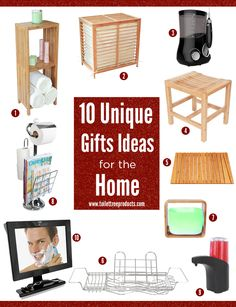 10 Unique gift ideas for the home - (1) Bamboo Freestanding Organizing Shelf, (2) Bamboo Laundry Hamper, (3) Poseidon Countertop Oral Irrigator, (4) Bamboo Bathroom Bench, (5) Bamboo Bath Mat, (6) Stainless Steel Bath Caddy, (7) Bamboo and Glass Essential Oil Diffuser, (8) Toilet Paper Caddy, (9) Automatic Adjustable Soap Dispenser, (10) Fogless Shower Mirror