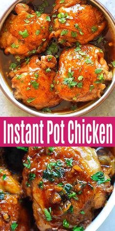 Instant Pot Chicken with Honey Garlic Sauce - moist, tender, fall-off-the-bone chicken thighs with mouthwatering, savory and sweet sauce. This chicken recipe is so easy and delicious! chicken recipes Instant Pot Chicken with Honey Garlic Sauce Easy Honey Garlic Chicken, Honey Garlic Sauce, Garlic Chicken Recipes, Healthy Chicken Recipes, Baked Chicken, Oven Chicken, Chicken Thigh Meals, Instantpot Chicken Recipes, Chicken Mushroom Recipes