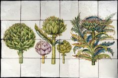 Dettaglio articolo 10616 botanical tiles - stand Recuperando #recuperando - available on recuperando.com Bologna, Botanical Art, Wall Tiles, Flora, Ceramics, Vegetables, Garden, Painting, Design