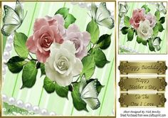 Pretty green butterflies pearls and summer roses 8x8 on Craftsuprint - Add To Basket!