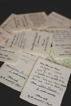 Such a fun idea- RSVP cards where guests write a note to you!