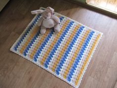 Baby Blanket Handmade Crochet , Baby Blanket Crochet , Baby Afghan Crochet , Baby Blanket white blue yellow , Ready to ship , KrugerShop on Etsy
