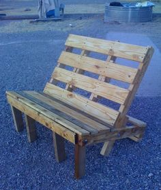 Can anyone get me some pallets?? Pallets work great as outdoor furniture because they're rustic. They also lend themselves well to any kind of paint color you want to throw on there. Picture this cool pallet bench in your garden… there's adirondack chair templates too!!!!