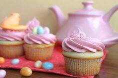 White Velvet Cupcakes with Raspberry Buttercream