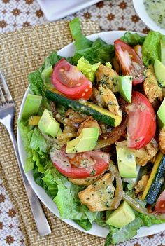 Chicken Fajita Sizzling Salad with Cilantro Lime Vinaigrette