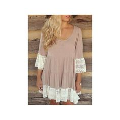 Khaki U Neck 3/4 Sleeve Lace Splicing Loose-Fitting Women's Peasant Dress