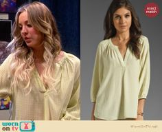 Penny's yellow dot printed blouse on The Big Bang Theory. Outfit Details: http://wornontv.net/27734 #TheBigBangTheory #fashion