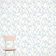 For a kids' room or any room. Mountains Wallpaper by Fine Little Day. L Wallpaper, Hallway Wallpaper, Designer Wallpaper, Pattern Wallpaper, Wallpaper Designs, Wallpaper Ideas, Bedroom Wallpaper, Textures Patterns, Print Patterns