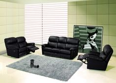 Modern Black Leather Reclining Sofa Set Loveseat Recliner Living Room