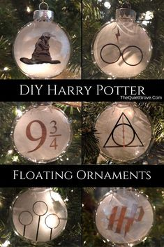 DIY Harry Potter Floating Ornaments made with a Cricut Explore Air 2 via @TheQuietGrove #SVG #HarryPotter #DIYHarryPotterChristmas #HarryPotterChristmas #DIY