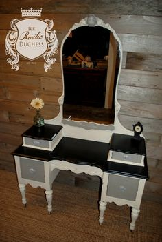 Antique vanity done in #MaisonBlanchePaint Wrought Iron, Franciscan Gray, and Vanille, with clear and dark wax.  #ChalkPaint #Furniture