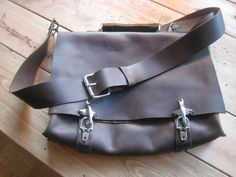 Hand stitched leather messenger back pack by Aixa on Etsy. $359.00, via Etsy.