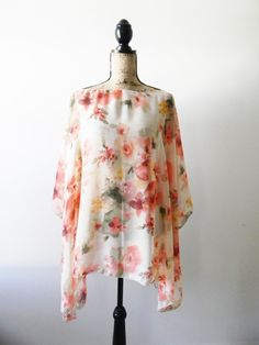 Chiffon Poncho/ Peach and Pink Florals/ Caftan by JessMDesigns, $35.00