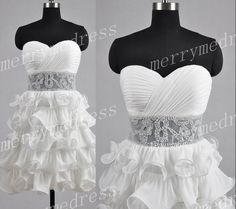 White Applique Sweetheart Strapless See-through Waist Short Tiered Bridesmaid Dress,Chiffon Formal Evening Party Prom Dress Homecoming Dress